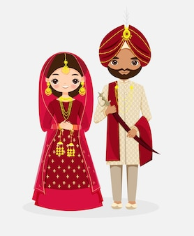 Lindo personaje de dibujos animados de la novia y el novio indio en traje tradicional rojo