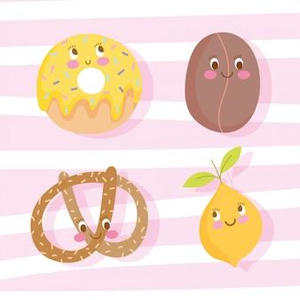 Lindo personaje de dibujos animados de nutrición de alimentos dulce donut frijol café pretzel y naranja ilustración vectorial