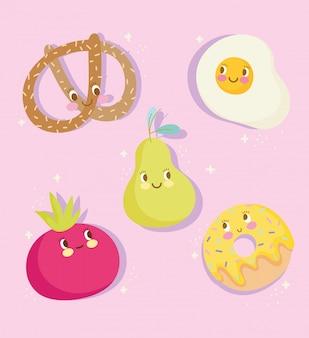 Lindo personaje de dibujos animados de nutrición de alimentos huevo pera tomate donut y pretzel iconos ilustración vectorial