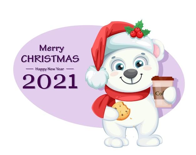 Lindo personaje de dibujos animados de oso polar con café y galletas