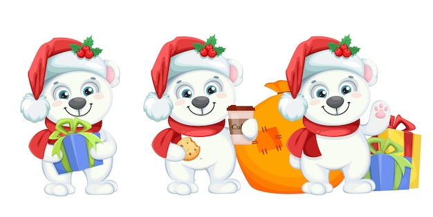 Lindo personaje de dibujos animados de oso polar, conjunto de tres poses
