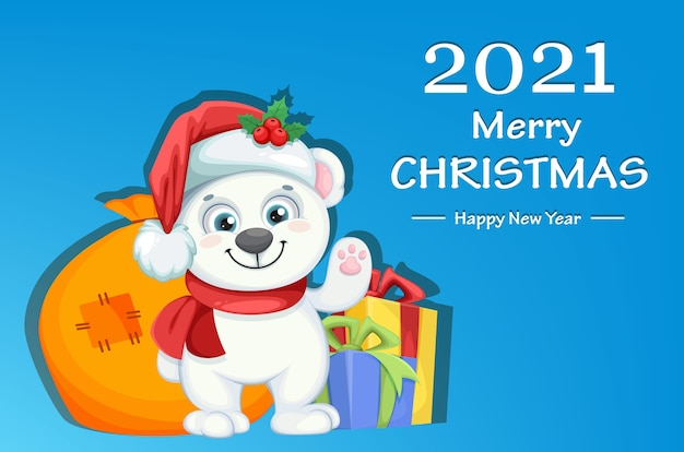 Lindo personaje de dibujos animados de oso polar de pie con regalos