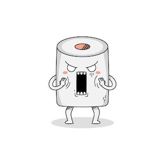 Lindo personaje de dibujos animados de papel toiler sorprendido
