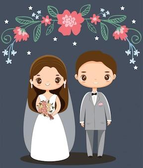 Lindo personaje de dibujos animados de pareja de boda