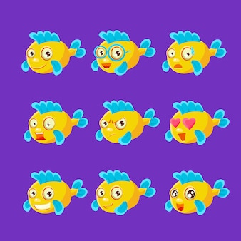 Lindo personaje de dibujos animados de peces de acuario amarillo conjunto de diferentes expresiones faciales y emociones