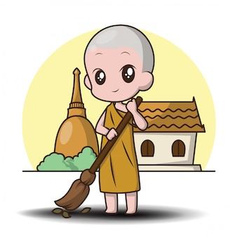 Lindo personaje de dibujos animados pequeño monje.