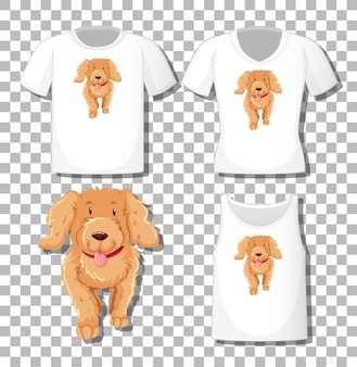 Lindo personaje de dibujos animados de perro con un conjunto de diferentes camisetas aislado sobre fondo blanco.