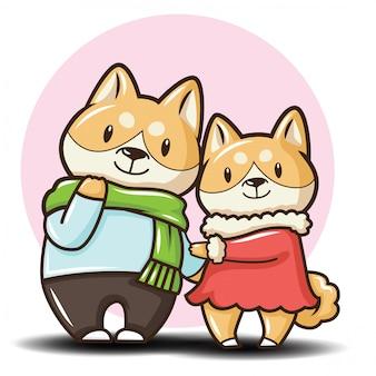 Lindo personaje de dibujos animados de perro shiba inu.