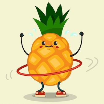 Lindo personaje de dibujos animados de piña haciendo ejercicios con hula-hoop