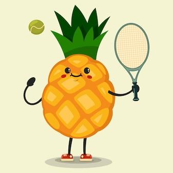 Lindo personaje de dibujos animados de piña jugando tenis ilustración