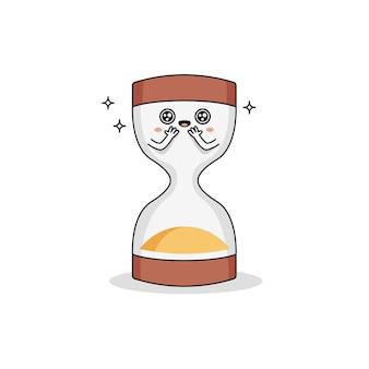 Lindo personaje de dibujos animados de reloj de arena con ojos brillantes