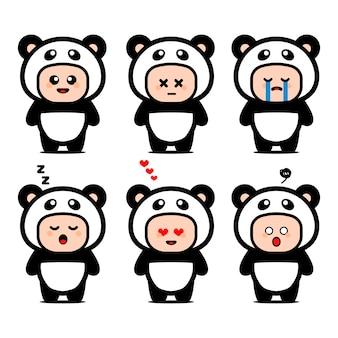 Lindo personaje de dibujos animados de traje de panda