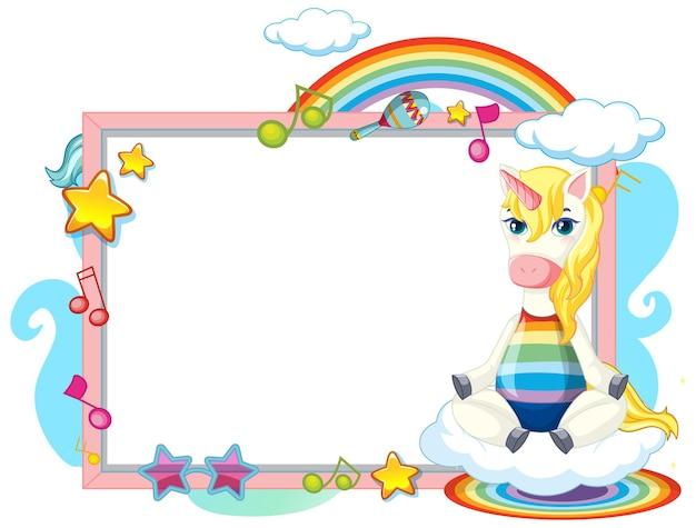 Lindo personaje de dibujos animados de unicornio con banner en blanco