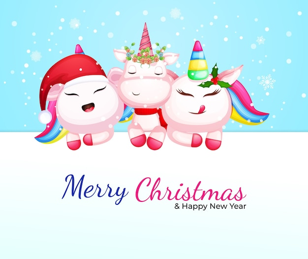 Lindo personaje de dibujos animados de unicornio para el día de navidad vector premium