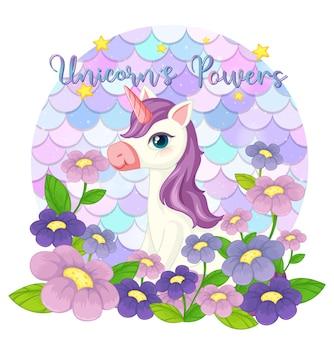 Lindo personaje de dibujos animados de unicornio sobre fondo de escamas pastel aislado