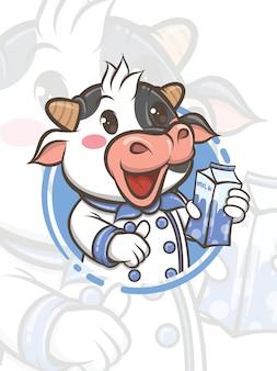 Lindo personaje de dibujos animados de vaca chef sosteniendo leche envasada - mascota e ilustración
