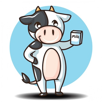 Lindo personaje de dibujos animados de vaca. concepto de dibujos animados de animales.