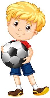 Lindo personaje de dibujos animados de youngboy con fútbol