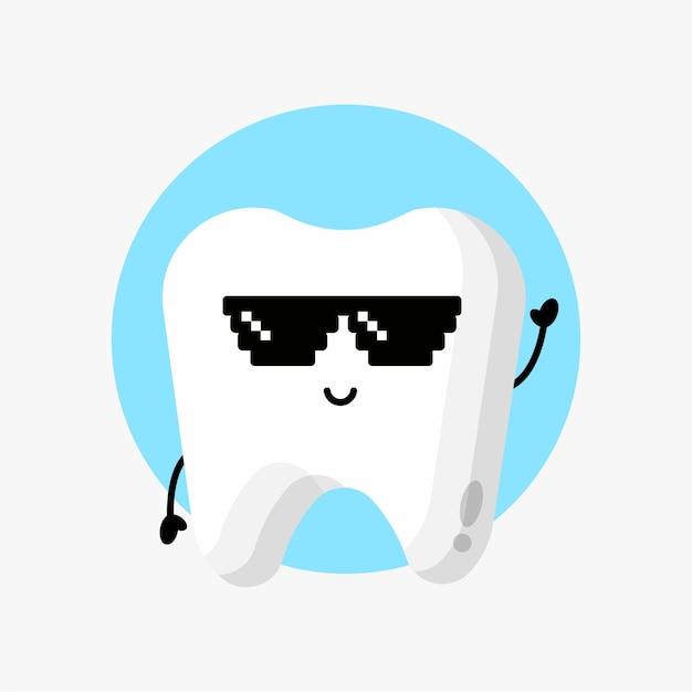 Lindo personaje de diente con gafas de píxeles
