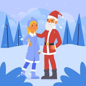 Lindo personaje de doncella de nieve