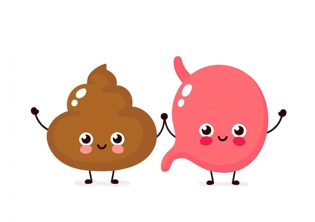 Lindo personaje de estómago y caca sonriente feliz. diseño de ilustración de dibujos animados plano de vector. aislado en blanco concepto de personaje de amigos de estómago y mierda