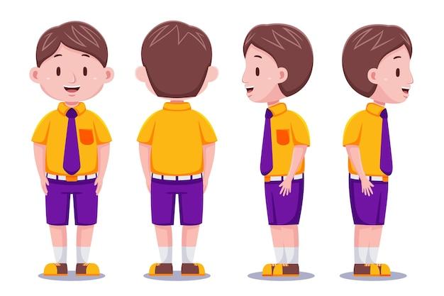 Lindo personaje de estudiante en estilo de diseño plano