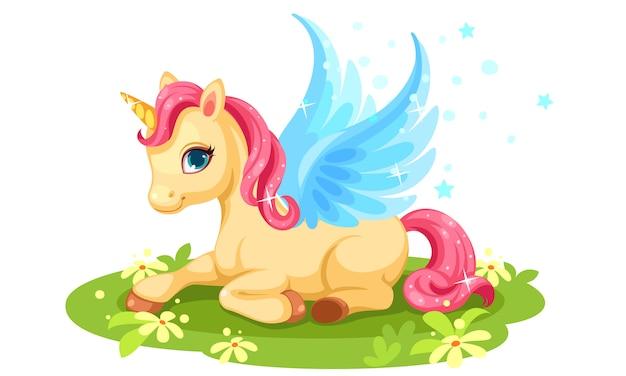 Lindo personaje de fantasía de unicornio bebé