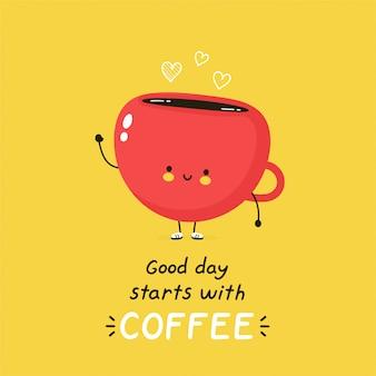 Lindo personaje feliz taza de café. aislado en blanco diseño de ilustración de personaje de dibujos animados de vector, estilo plano simple. buen día comienza con tarjeta de café