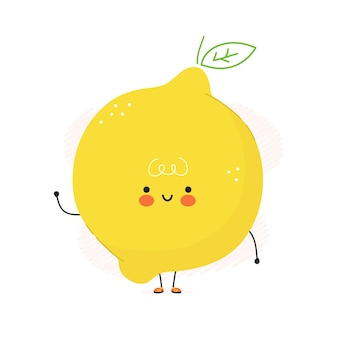 Lindo personaje de fruta de limón divertido