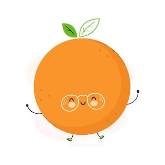 Lindo personaje de fruta naranja divertida