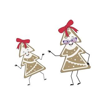 Lindo personaje de galleta de jengibre en forma de árbol de navidad alegre con emociones gracioso g ...