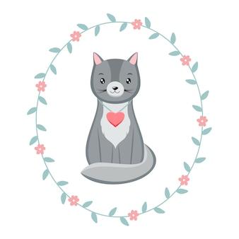 Lindo personaje de gatito kawaii con corazón rosa, dentro de corona floral. gato de san valentín.