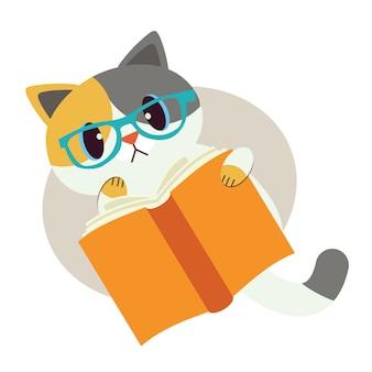 Lindo personaje de gato con un libro.