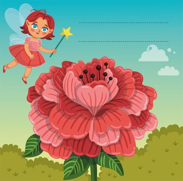 Lindo personaje de hada con una flor grande y un área de texto vacía pegatina y etiqueta para niños