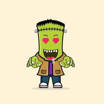 Lindo personaje de halloween de frankenstein zombie vector libre