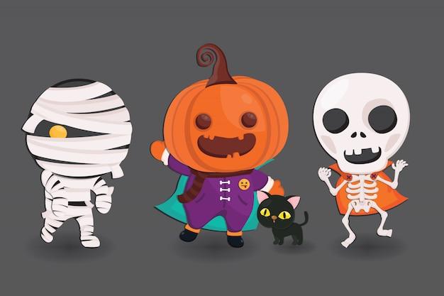 Lindo personaje de halloween en traje de monstruo.