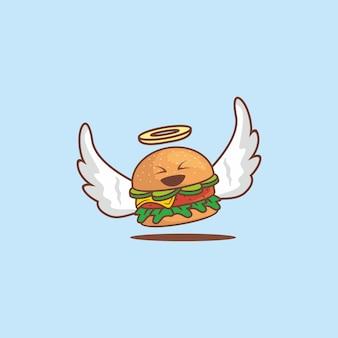 Lindo personaje de hamburguesa de ángel con alas blancas