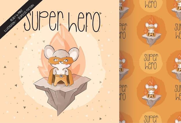 Lindo personaje de héroe de ratón pequeño con patrones sin fisuras