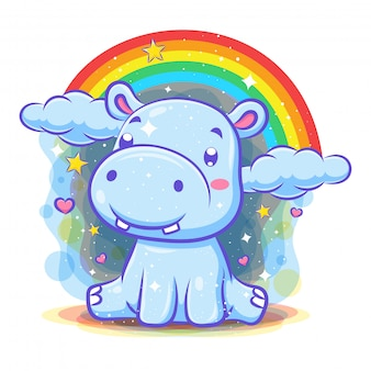 Lindo personaje de hipopótamo con fondo de arco iris
