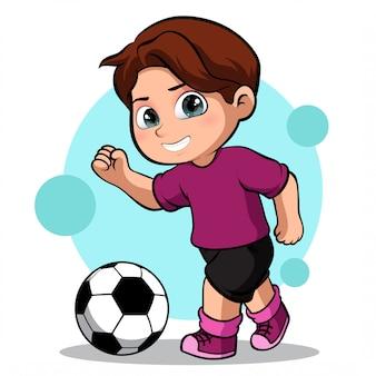Lindo personaje de un jugador de fútbol masculino