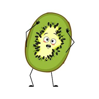 Lindo personaje de kiwi con emociones en pánico agarra su cabeza, cara, brazos y piernas. la comida verde divertida o triste, dulce fruta tropical exótica con ojos