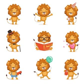 Lindo personaje de león haciendo diferentes actividades coloridas ilustraciones sobre un fondo blanco.