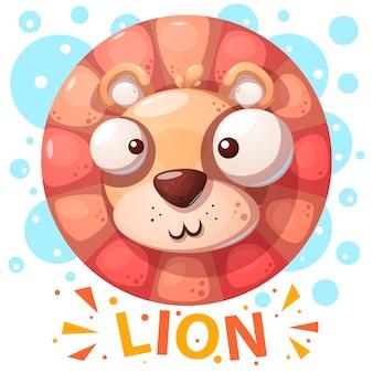 Lindo personaje de león - ilustración de dibujos animados