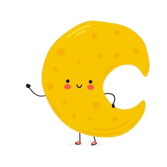 Lindo personaje de luna feliz divertido