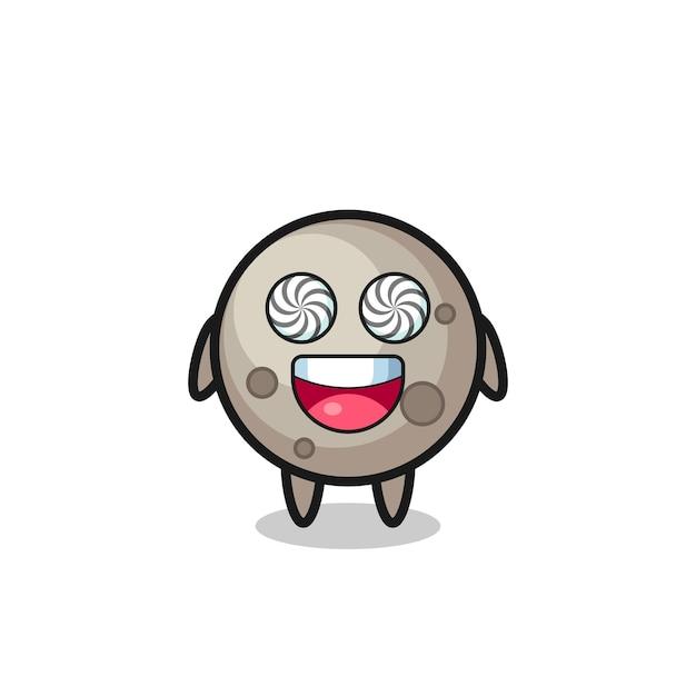 Lindo personaje de luna con ojos hipnotizados, diseño de estilo lindo para camiseta, pegatina, elemento de logotipo
