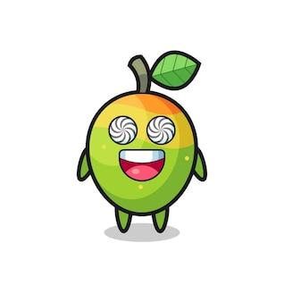 Lindo personaje de mango con ojos hipnotizados, diseño de estilo lindo para camiseta, pegatina, elemento de logotipo