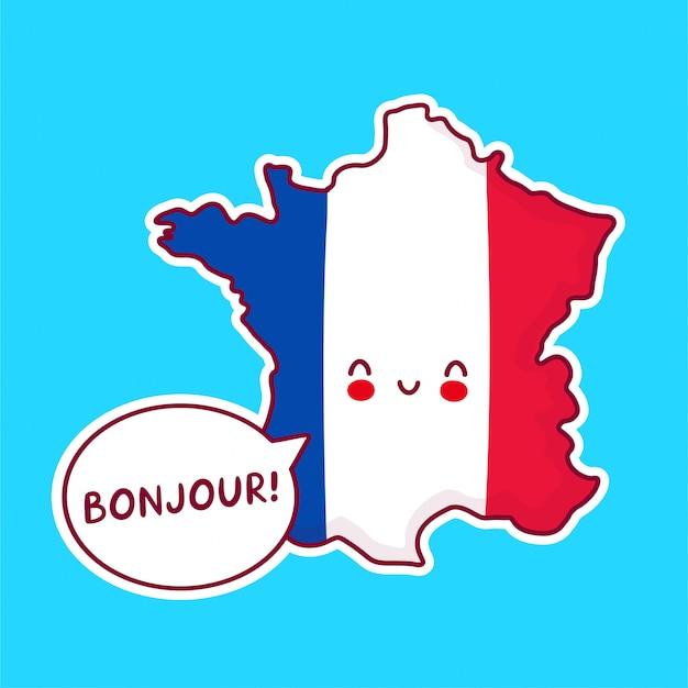 Lindo personaje de mapa y bandera de francia divertido feliz con bonjour palabra en bocadillo.