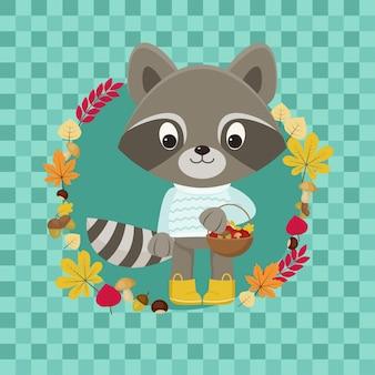 Lindo personaje de mapache con canasta llena de bellotas, setas, castañas. ilustración de vector de otoño