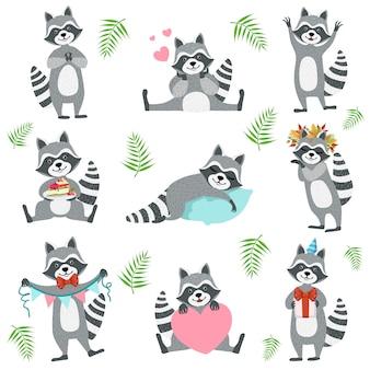 Lindo personaje de mapache en diferentes situaciones establecidas