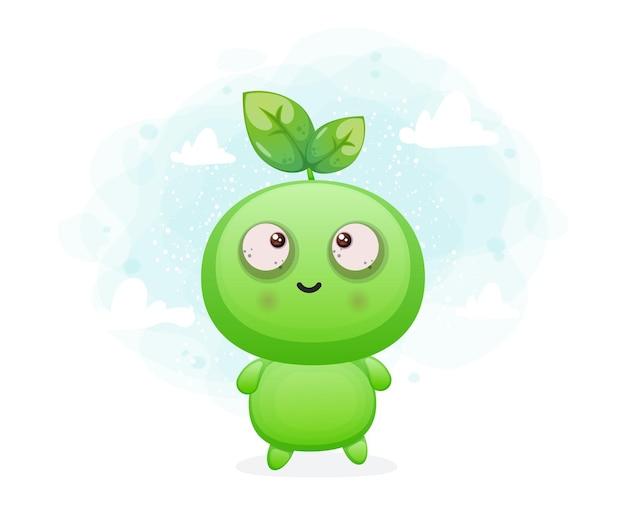 Lindo personaje de mascota alienígena de semilla sonriente feliz vector premium